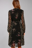 ASTR the Label Tyra Black Floral Print Long Sleeve Wrap Dress 3