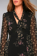 ASTR the Label Tyra Black Floral Print Long Sleeve Wrap Dress 4