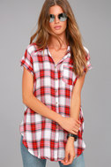Here We Go Red Plaid Button-Up Top 1
