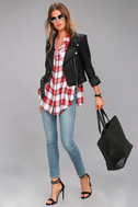 Here We Go Red Plaid Button-Up Top 2