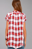 Here We Go Red Plaid Button-Up Top 3