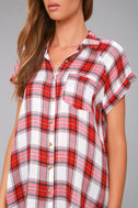 Here We Go Red Plaid Button-Up Top 4