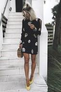 Free People Sunshadows Washed Black Floral Print Mini Dress 5
