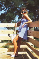 Suit and Tied Blue and White Striped Strapless Shirt Dress 5
