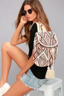 Billabong Soul Bound Cream Embroidered Backpack 1
