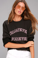 Junk Food Whatever Forever Washed Black Sweatshirt 2