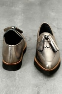 Steven by Steve Madden Naomie Pewter Leather Pointed Toe Loafers 4