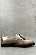Steven by Steve Madden Naomie Pewter Leather Pointed Toe Loafers 2