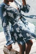Filled with Wonder Denim Blue Floral Print Crop Top 5
