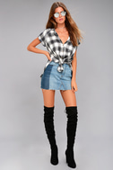 Here We Go Black Plaid Button-Up Top 2