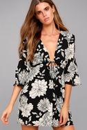 Steal the Show Black and White Floral Print Cold-Shoulder Dress 1