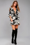 Steal the Show Black and White Floral Print Cold-Shoulder Dress 2