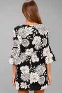Steal the Show Black and White Floral Print Cold-Shoulder Dress 3