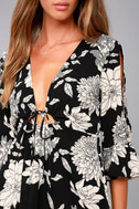 Steal the Show Black and White Floral Print Cold-Shoulder Dress 4