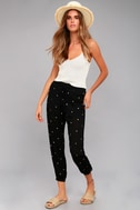 Lots of Luck Black Embroidered Pants 1