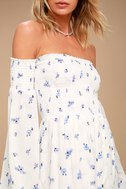 Lucy Love Vineyard White Floral Print Off-the-Shoulder Dress 5