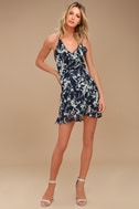 Belong to You Navy Blue Floral Print Sleeveless Dress 2