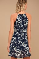 Belong to You Navy Blue Floral Print Sleeveless Dress 4