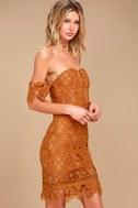 J.O.A. Kyler Burnt Orange Lace Off-the-Shoulder Dress 3