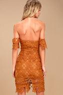J.O.A. Kyler Burnt Orange Lace Off-the-Shoulder Dress 4