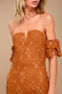 J.O.A. Kyler Burnt Orange Lace Off-the-Shoulder Dress 5