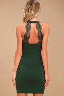 Endlessly Alluring Forest Green Lace Bodycon Dress 3