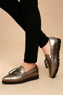 Steven by Steve Madden Naomie Pewter Leather Pointed Toe Loafers 3