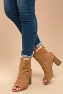 Sbicca Rozene Tan Suede Peep-Toe Ankle Booties 2