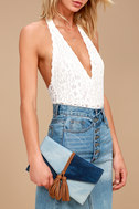 Patch Things Up Blue Denim Clutch 1