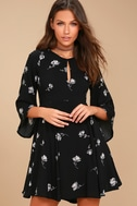 Others Follow Enchant You Black Floral Print Skater Dress 2