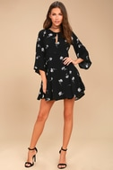 Others Follow Enchant You Black Floral Print Skater Dress 1