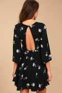 Others Follow Enchant You Black Floral Print Skater Dress 3