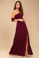 J.O.A. Veronique Burgundy Off-the-Shoulder Maxi Dress 2