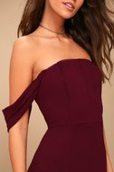 J.O.A. Veronique Burgundy Off-the-Shoulder Maxi Dress 4