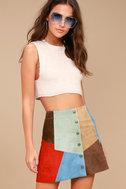 White Crow Rosarito Multi Suede Leather Mini Skirt 2