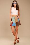 White Crow Rosarito Multi Suede Leather Mini Skirt 1