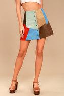 White Crow Rosarito Multi Suede Leather Mini Skirt 3