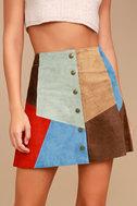 White Crow Rosarito Multi Suede Leather Mini Skirt 4