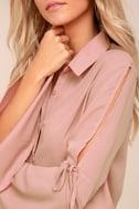 Estrella Mauve Pink Long Sleeve Button-Up Top 2