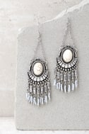Windswept Silver and Cream Beaded Tassel Earrings 1