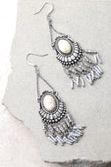Windswept Silver and Cream Beaded Tassel Earrings 2