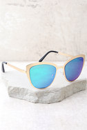 Sun Ray Gold and Green Mirrored Sunglasses 3