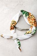 Tropical Punch White Pineapple Print Bandana 4