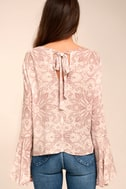 Love's Delight Mauve Print Embroidered Long Sleeve Top 4