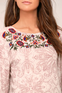 Love's Delight Mauve Print Embroidered Long Sleeve Top 5