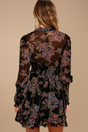Free People Fake Pretend Black Print Long Sleeve Mini Dress 4
