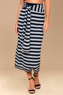 Moon River Day in the Hamptons Navy Blue Striped Maxi Skirt 2