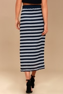 Moon River Day in the Hamptons Navy Blue Striped Maxi Skirt 3