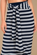 Moon River Day in the Hamptons Navy Blue Striped Maxi Skirt 4