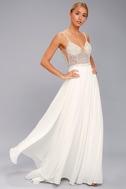 True Love White Beaded Rhinestone Maxi Dress 4